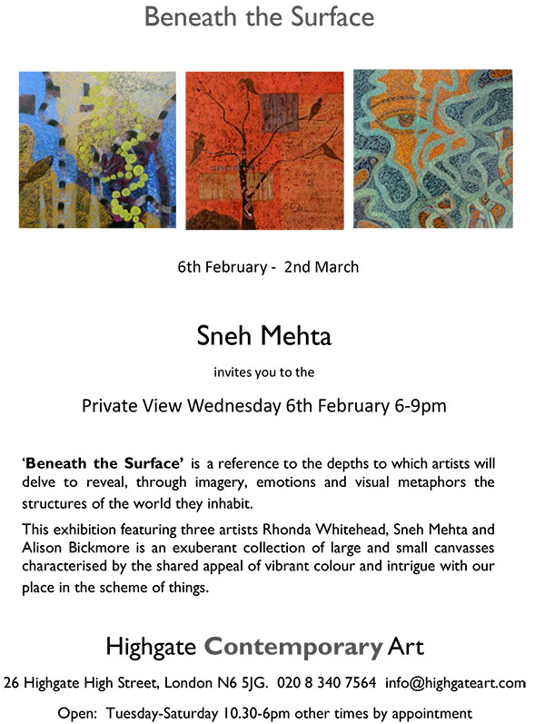 0Beneath the Surface SNEH MEHTA invitation